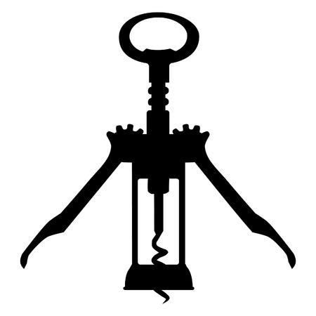 uncork: Black silhouette of corkscrew vector illustration. Wine corkscrew. Bottle opener. Wine bottle opener Illustration