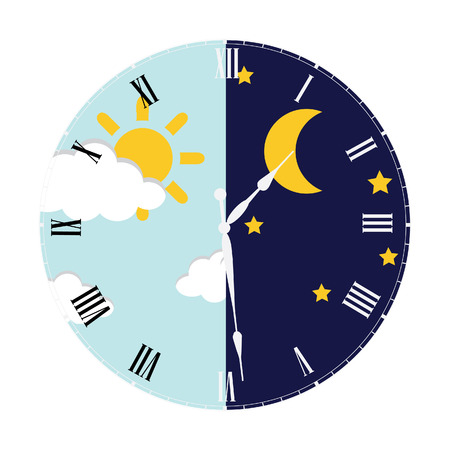 concept day: Clock with day night concept clock face vector illustration. Blue sky with clouds and sun. Moon and stars in the night