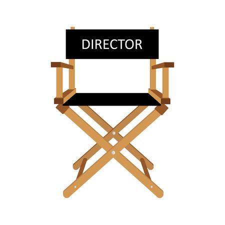 Filmregisseur stoel vector illustratie. Houten regisseur stoel. Directeur stoel geïsoleerde