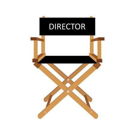 Film Director Chair Vector Illustration. Wooden Movie Director Chair. Director  Chair Isolated