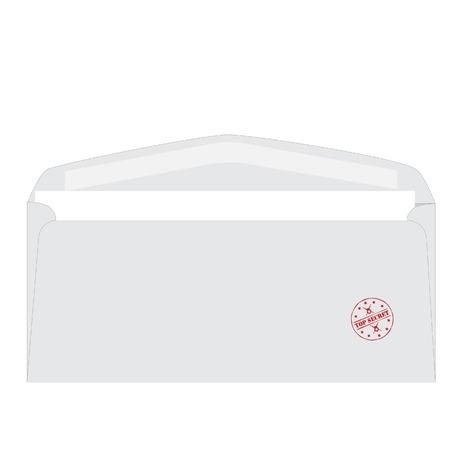 correspondence: Blanco abrió el sobre con sello de goma roja superior ilustración vectorial ronda secreto. Correspondencia confidencial