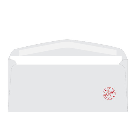 White opened envelope with round red rubber stamp top secret vector illustration. Confidential correspondence