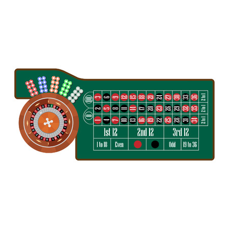 roulette table: European roulette table with roulette wheel and ball, different colors chips vector illustration. Gambling game