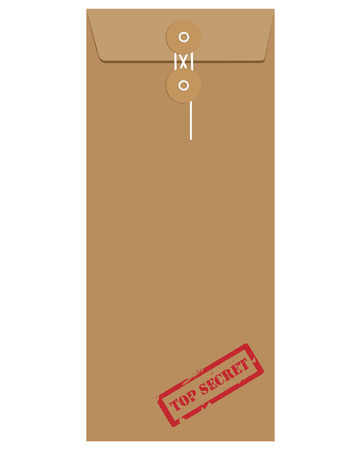 string top: Brown long postal envelope template with red rubber stamp top secret vector illustration. Envelope sealed with string. Illustration
