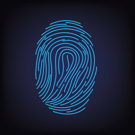 cyberspace: Blue digital silhouette of fingerprint on black background vector illustration, fingerprint icon, fingerprint scan Illustration