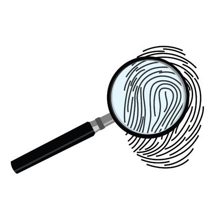 fingermark: Black fingerprint through magnifying glass vector illustration. Criminalistic research Illustration