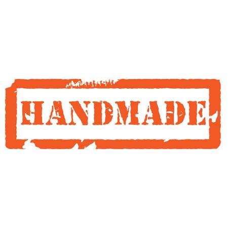 rekodzielo: Pomarańczowy ręcznie pieczątka. Znaczek produkcja rękodzieła