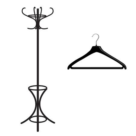 coat hanger: Coat rack and hanger black silhouette vector illustration. Clothes hanger, floor hanger