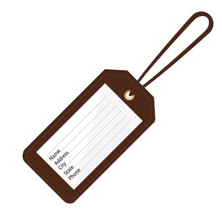 Braunes Leder Kofferanhänger mit Name, Adresse, Stadt, Bundesland, Telefonfelder. Gepäcketikett mit String-Vektor-Illustration. Travel-Tag