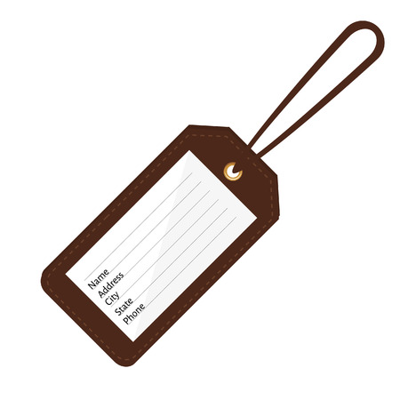 Brown leather luggage tag with name, address, city, state, phone fields. Luggage label with string vector illustration. Travel tag Ilustração