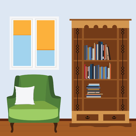 white pillow: Reading room with green armchair and white pillow, bookcase with books and window vector illustration. I love reading. Study room.