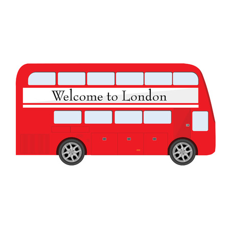 welcome symbol: London red bus with poster Welcome to London vector illustration. London symbol. Double decker