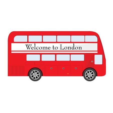 bienvenida: Londres autobús rojo con el cartel de bienvenida a Londres ilustración vectorial. Símbolo Londres. Dos pisos