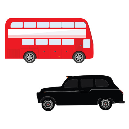 double decker bus: London red bus and black taxi cab vector illustration. London symbol. Double decker