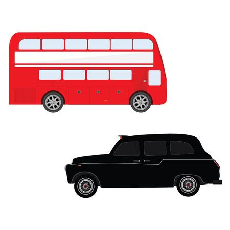 english bus: Londres bus rouge et le taxi noir vecteur de cabine illustration. Symbole de Londres. Autobus à impériale