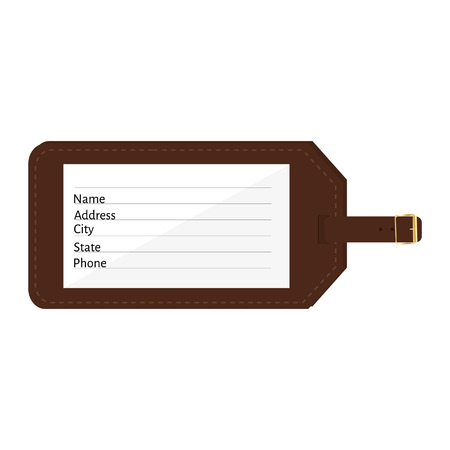 Brown leather luggage tag with name, address, city, state, phone fields. Luggage label with strap vector illustration. Travel tag Ilustração