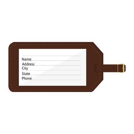 Cuir marron étiquette de bagage avec nom, adresse, ville, état, les champs de téléphone. Étiquette de bagage avec sangle illustration vectorielle. Tag Voyage Banque d'images - 44024386