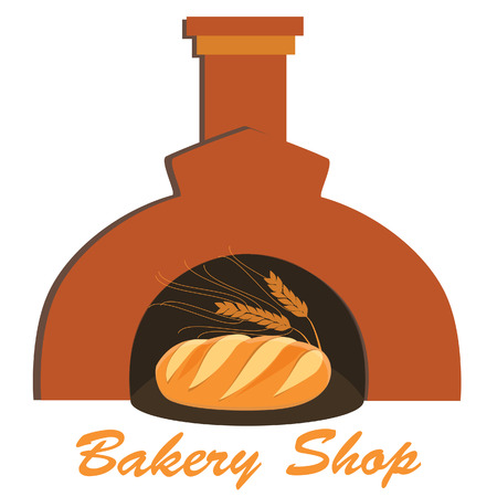 bakery oven: Bakery shop symbol fresh loaf of white bread with ears of wheat in oven vector illustration