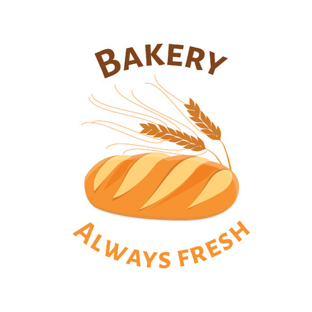 wheat bread: Loaf of white bread and ears of wheat bakery shop symbol. Always fresh bakery Illustration