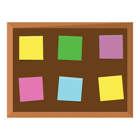 bulletin board: Brown wooden bulletin board with six color stick notes yellow, green, pink, purple and blue. Notice board. Cork board. School bulletin board Illustration