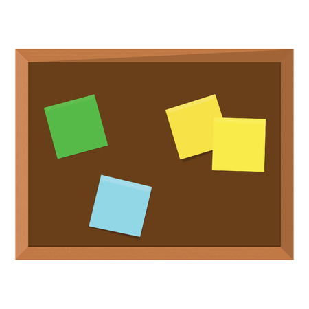 bulletin board: Brown wooden bulletin board with color stick notes yellow, green, pink, purple and blue. Notice board. Cork board. School bulletin board