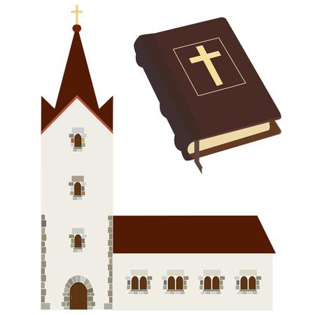 catholic chapel: Religious set with church and holy bible vector isolated, christian, catholic