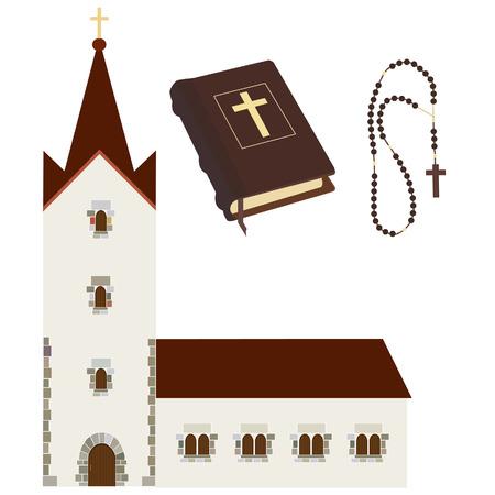 biblia: Conjunto religioso con la iglesia, sagrada biblia, rosario de las gotas del vector aislado, cristiano, católico