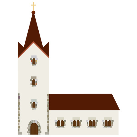 the catholic church: Church building vector icon, wedding chapel, christianity  catholic
