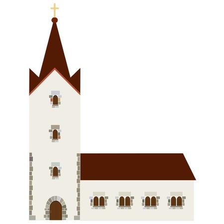 religion catolica: Edificio de la Iglesia del icono del vector, capilla para bodas, cristianismo cat�lico Vectores