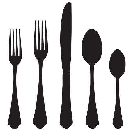 Black silhouette of fork, knife and spoon vector icon set. Cutlery Illustration
