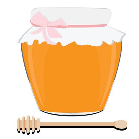 pot miel: Pot de miel et le miel louche illustration vectorielle. Cuill�re de miel. Pot de miel
