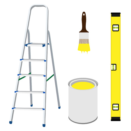 stepladder: Vector illustration of work tools metal step ladder, paint brush with yellow paint, building level and paint bucket Illustration