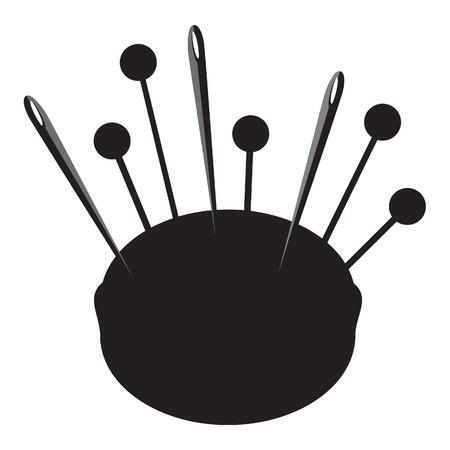 Schwarze Silhouette Nadelkissen für Nadeln und Fingerhüte Vektor-Illustration. Näh-Ausrüstung. Kissen für Nadeln. Handgefertigt, Handwerk-Symbol Standard-Bild - 44024685