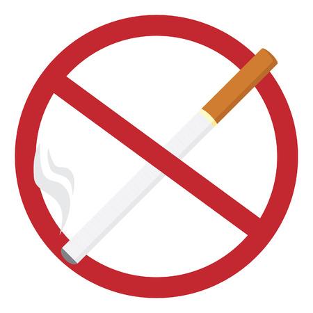 fumando: Ronda ningún signo de fumar con el cigarrillo realista, dejar de fumar, libre de humo, no fumar icono de ilustración vectorial Vectores