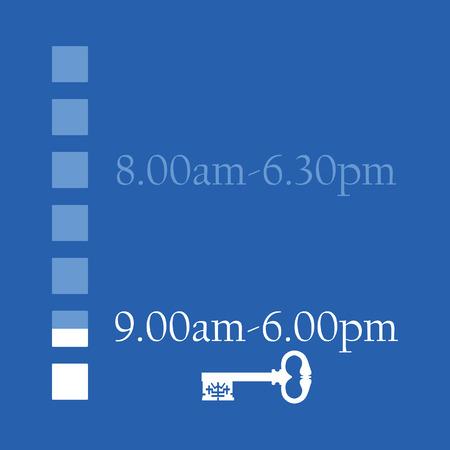 oude sleutel: Blauwe tijdschema winkel werktijden van maandag tot zondag vector illustratie. Openingstijden. Oude sleutel symboliseren gesloten Stock Illustratie