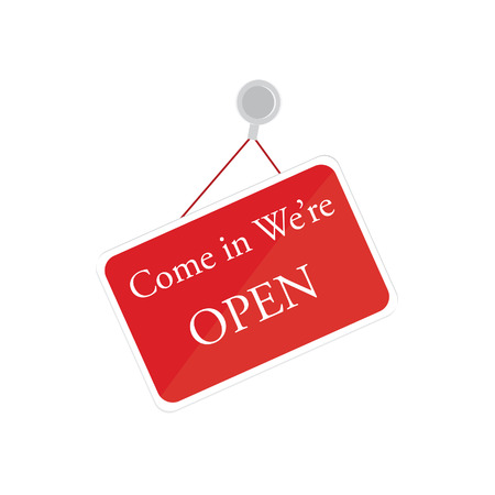 come in: We are open sign vector illustration. Open door sign. Red entrance sign, come in we are open. Illustration