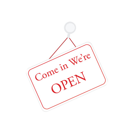 come in: We are open sign vector illustration. Open door sign. White and red entrance sign, come in we are open Illustration