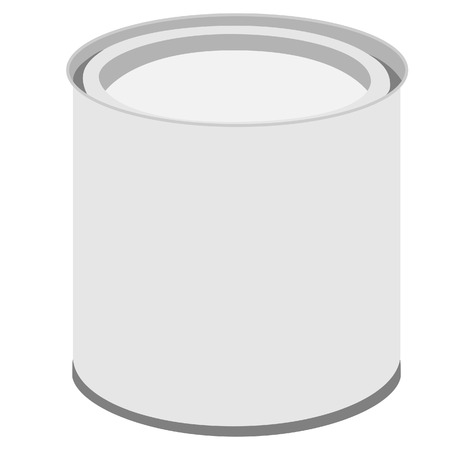 paint tin: Metal closed paint can vector illustration. Paint bucket Illustration