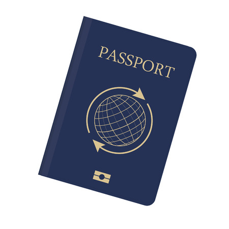 Blue passport with globe and arrows around vector illustration. Passport icon. Traveling passport Ilustracja