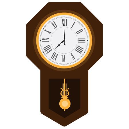 Brown wooden pendulum clock vector illustration. Grandfather clock. Vintage clock