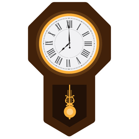 Brown wooden pendulum clock vector illustration. Grandfather clock. Vintage clock