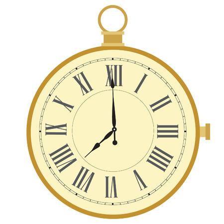 pocket watch: Golden pocket watch with roman numerals vector illustration. Vintage pocket clock