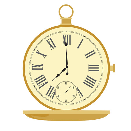 roman numerals: Golden pocket watch with roman numerals vector illustration. Vintage pocket clock