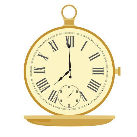numeros romanos: Reloj de bolsillo de oro con n�meros romanos ilustraci�n vectorial. Reloj de bolsillo de la vendimia Vectores