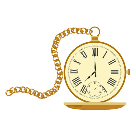 pocket watch: Golden pocket watch with chain. Vintage pocket clock with roman numerals. Old pocket watch Illustration