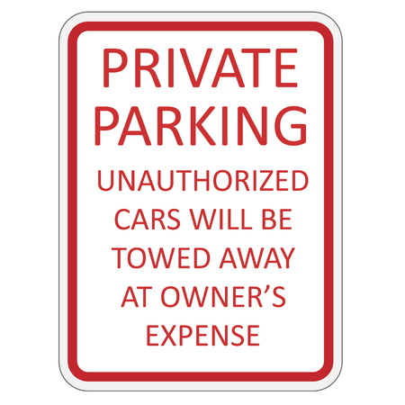 obey: Red and white private parking sign vector illustration Illustration
