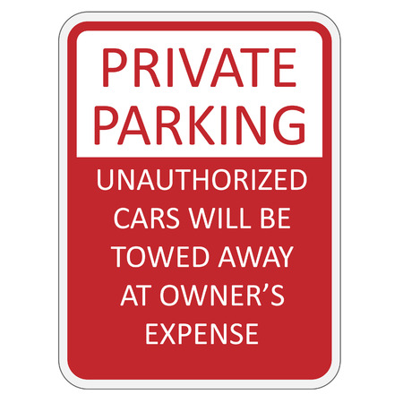 Red and white private parking sign vector illustration Illustration