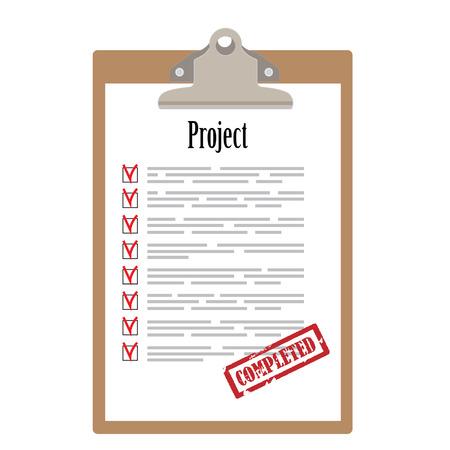 completato: Appunti Brown e elenco di progetti con caselle di controllo contrassegnati con il timbro di gomma rosso illustrazione vettoriale completato. Icona Survey, icona checklist Vettoriali