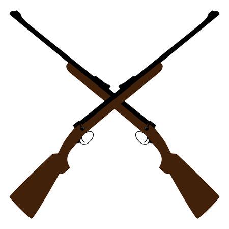 두 소총 벡터 일러스트를 엇갈리게했다. 사냥 용 소총. 저격 총. 오래 된 소총입니다. 혁명의 상징