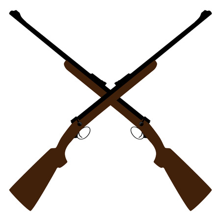 Two crossed rifle vector illustration. Hunting rifle. Sniper rifle. Old rifle. Revolution symbol Çizim